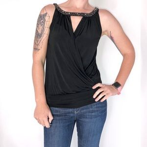 Express Beaded Collar Plunging V-Neck